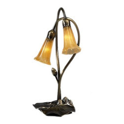 Meyda Tiffany - Meyda Tiffany Lamps Table Lamp in Mahogany Bronze - Shown in picture: Amber Pond Lily 2 Lt Accent Lamp; One Of The Most Popular Louis Comfort Tiffany Styled Lamps On The Market Today - Recreating His Famous Favrile Design From The Early 1900's. This Mottled Rich Amber Shaded Two Light Accent Lamp Offers An Attractive - Delicate Design Featuring Shades Mouth Blown Of Fine Art Glass. Lily Shades Are Suspended From Stems Delicately Winding Above Lily Pads Bases Finished By Hand In Mahogany Bronze.