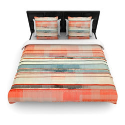"Kess InHouse - CarolLynn Tice ""Patton"" Orange Teal Cotton Duvet Cover (Queen, 88"" x 88"") - Rest in comfort among this artistically inclined cotton blend duvet cover. This duvet cover is as light as a feather! You will be sure to be the envy of all of your guests with this aesthetically pleasing duvet. We highly recommend washing this as many times as you like as this material will not fade or lose comfort. Cotton blended, this duvet cover is not only beautiful and artistic but can be used year round with a duvet insert! Add our cotton shams to make your bed complete and looking stylish and artistic!"