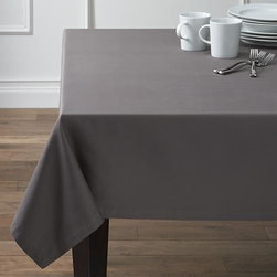 """Fete Pewter 60""""x90"""" Tablecloth - Soft cotton tablecloths spread gorgeous tones of saturated color that mix and match with any number of table linens. Handsomely finished with 1"""" hem and mitered corners."""