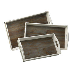 Cyan Designs - White Wood Serving Tray Set (3-Piece Set) - The classic design of the White Wood Serving Tray Set adds a comfortable design element to your home. The carved handles on the rectangular trays help increase their functionality. The trays have a white/gray exterior, but the wood tray bottom is left in its original coloring to highlight the beauty of the raw material. Use these trays to bring your loved one breakfast in bed or to serve wine and cheese to a party guest.  Their function is truly endless.   Product Details: