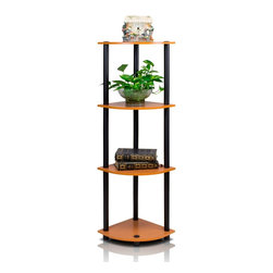 Furinno - Furinno 12078 Turn-N-Tube 4-Tier Corner Rack, Light Cherry/Black - Furinno Turn-N-Tube Home Living Mini Storage and Organization Series: 4-Tiers No Tools Tube Storage Shelving Unit . (1) Unique Structure: Open display rack, shelves provide easy storage and display for decorative and home living accessories. Suitable for rooms needing vertical storage area. Designed to meet the demand of low cost but durable and efficient furniture. It is proven to be the most popular RTA furniture due to its functionality, price, and the no hassle assembly. (2) Smart Design: Easy Assembly and No tools required. A smart design that uses durable recycled PVC tubes and engineered particleboard that withstand heavy weight. Just repeat the twist, turn and stack mechanism, and the whole unit can be assembled within 10 minutes. Experience the fun of D-I-Y even with your kids . (3) The  Particleboard is manufactured in Malaysia and comply with the green rules of production. There is no foul smell, durable and the material is the most stable amongst the particleboards. The PVC tube is made from recycled plastic and is tested for its durability. A simple attitude towards lifestyle is reflected directly on the design of Furinno Furniture, creating a trend of simply nature. All the products are produced and assembled 100-percent in Malaysia with 95% - 100% recycled materials.