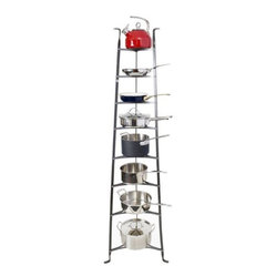 Enclume - Enclume Cookware Stand 6-Tier - Some pots and pans are too pretty to be shuttered away! Showcase your finest cookware with this gleaming hammered steel stand. Sturdy yet gracefully tapered, this stand is the perfect cookware storage and display.