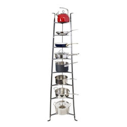"Enclume - Enclume Cookware Stand, Hammered Steel, 8-Tier - Inspired by an antique French baker's rack, Enclume stand beautifully displays your finest cookware.  The tripod legs taper upward, lending a gentle grace while allowing you to store large pots on the bottom, smaller ones up top.  Cold riveted for long life and stability, the rack comes fully assembled.  Product Info: 19.5""W X 16.5""D X 68""H Shipped fully assembled; weight 22 lbs. Piece ships oversize   This product is direct shipped from the manufacturer's warehouse."