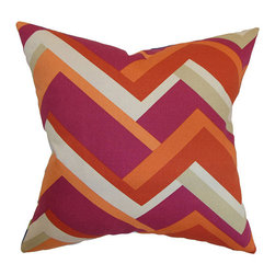 The Pillow Collection - Hoonah Orange 18 x 18 Geometric Throw Pillow - - Pillows have hidden zippers for easy removal and cleaning  - Reversible pillow with same fabric on both sides  - Comes standard with a 5/95 feather blend pillow insert  - All four sides have a clean knife-edge finish  - Pillow insert is 19 x 19 to ensure a tight and generous fit  - Cover and insert made in the USA  - Spot clean and Dry cleaning recommended  - Fill Material: 5/95 down feather blend The Pillow Collection - P18-D-21045-MANGO-C100
