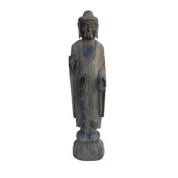 Golden Lotus - Chinese Hand Carved Standing Sakyamuni Stone Buddha Statue - This standing sakyamuni Buddha statue is made of solid stone and hand carved in a round. The carving is very detailed and precise. He is standing on a lotus stand and in a blessing position.