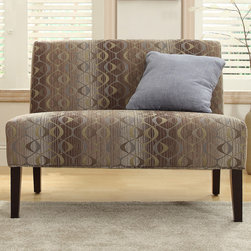 Inspire Q - INSPIRE Q Wicker Park Oval Chain Armless Loveseat - This Kayla armless loveseat is covered in an elegant print upholstery that will brighten up your home decor. The simple color scheme and the understated hardwood,rich espresso legs make this loveseat an easy addition to any room in your home.