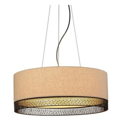 LBL Lighting - LBL Lighting Hollywood Beach Suspension 27W 4 Light Foyer Pendant - LBL Lighting Hollywood Beach Suspension 27W 4 Light Foyer PendantWith the bold look of tan fabric with hand-crafted wire details at the bottom, this beautiful pendant will enhance the look of any room. The four included 27 watt GU24 base self-ballasted compact fluorescent lamps provide ample light through the opal glass bottom diffuser.LBL Lighting Hollywood Beach Suspension 27W Features:
