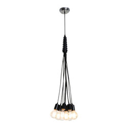 """LampLust - 10-Bulb Cluster Chandelier - Featured with our vintage Midwood bulb, exclusively from Brooklyn Bulb Co., this fixture features an eclectically molded rubberized casing that gives way to ten black textile cords and sleek 2"""" metal sockets. A perfect compliment to a living room or dining room, this fixture also fits seamlessly in larger commercial spaces. Pair this fixture with your favorite set of bulbs or choose from our selection of vintage and decorative bulbs."""