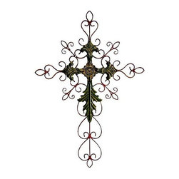 Cheung's - 28 in. Tall Metal Cross Scroll Design in Green Red - The wall decor boasts its 28 in. height constructed with metal. The brilliant use of color really shines with the green, red, silver finishes that combine in this piece. Add this lovely modern wall sculpture to your home for a royal look. 10.24 in. L x 26.38 in. W x 18.5 in. H (1.5 lbs.)