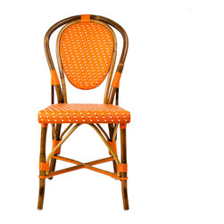Orange & Cream Mediterranean Bistro Chair - These rattan-framed stools are part of the iconic French bistros of Le Midi, or the south of France. Hand-woven and artisan crafted, these French style bistro bar stools in bright synthetic material, will add a pop of color to your outdoor or indoor space.
