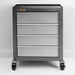 Gladiator - Gladiator 4 Drawer Modular Cabinet Multicolor - GAGD264DBG - Shop for Cabinets from Hayneedle.com! Organize your tools with the Gladiator 4 Drawer Modular Cabinet. This durable cabinet goes where it's needed most thanks to four 5-inch diameter rubber swivel casters (front two casters are lockable). The frame is crafted from solid welded steel and features a hammered graphite gray finish. Four silver steel full-extension drawers provide an ideal way to keep sets of hammers wrenches screwdrivers and more organized. Each shelf can support a maximum of 25 lbs.About GladiatorGladiator complete garage organization systems are designed for the harsh environment of your garage and to get you organized once and for all. Constructed from heavy-duty materials these products are built to last and backed by the Whirlpool name and warranties. All products are modular and feature a slot wall system that lets you easily rearrange or add cabinets and components as your needs change. Coordinated to create a uniform look for your garage the distinctive look of Gladiator GarageWorks is rugged stylish and easy to clean.