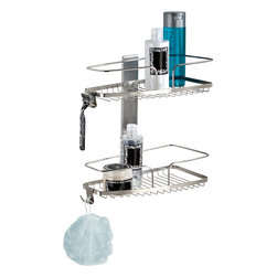 Better Living Products - FineLine 2-Tier Shower Basket - Shower caddies are okay, but you'll love the way this two-tier shower basket holds everything you need and is stylish to boot. Made of stainless steel, it includes accessory hooks and is easy to install using waterproof silicone glue and double-sided tape (both included).