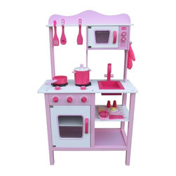 Berry Toys - Berry Toys My Cute Pink Wooden Play Kitchen - W10C045 - Shop for Cooking and Housekeeping from Hayneedle.com! The Berry Toys My Cute Pink Wooden Play Kitchen has everything a budding chef needs to get started! The realistic countertop has a range with two burners. Under the range your child will find a dual-rack oven with a working windowed door. For quicker cooking she can use the microwave above the sink. When it's time to clean up she can wash her dishes in the sink (which pops out in case some real cleaning is in order). And don't worry about having to buy cookware and play food to go along with this kitchen in this set everything's included! The kitchen comes with a set of pink pans cooking utensils dishes and play breakfast food. All the accessories are also wooden so they'll stand up to many hours of fun. The Berry Toys My Cute Pink Wooden Play Kitchen is just the thing for a pink-loving girl who wants to get cooking!About Berry ToysBased in Chino Hills California Berry Toys is a leading manufacturer of children's toys. Berry Toys aims to educate children through play and their toy selection includes play kitchens play foods musical instruments play tools and more. If you want affordable pricing quality customer service and educational toys that are manufactured according to the highest standards Berry Toys can deliver.