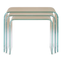 Mitchell Gold + Bob Williams - Claro Nesting Table - People who live in glass houses will definitely love these tables! They're made of bent glass with a beveled edge for a modern look that's enlightening. Pull them out when extra serving space is needed, and then you can tuck them back in when the party's over.