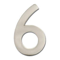 "Architectural Mailboxes - 5"" Floating House Number Satin Nickel ""6"" - The�Solid Cast Brass 5"" Floating House Numbers�offer four classically elegant�finishes - antique brass, antique copper, satin nickel, and dark aged copper. Each house number is hand finished in a premium metallic finish. They can be mounted either flush with the wall or you can leave the mounting screws partially out of the holes for a floating number effect. No holes or unsightly screw heads are shown. The House Numbers compliment  Peninsula Mailboxes, Metropolis Mailboxes and the brass accents on Coronado Mailboxes.  Includes installation instructions and hardware."