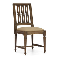 ZUO ERA - Excelsior Chair Distressed Natural - A dining chair that will make your teen sit up straight. The distressed natural elm wood chair sports tapered legs, a soft fabric cushion and an ornate back design, a formal chair with a contemporary flare.