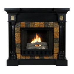 Holly & Martin - Holly & Martin Weatherford Convertible Gel Fireplace, Black - Dark earth tone faux slate tiles surround the firebox on this black fireplace mantel to create a look that is unbeatable. Rounded columns on either side of the firebox are topped off with square tiles, adding cohesion to the design. This versatile fireplace is complete with a collapsible panel, making it easy to place against a flat wall or in a corner. Requiring no electrician or contractor for installation allows instant remodeling without the usual mess or expense. In addition to your living room or bedroom, try moving this fireplace to your dining room for a romantic dinner or complement your media room with a ventless fireplace below your flat screen television. Use this great functional fireplace to make your home a more welcoming environment.