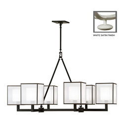 Fine Art Lamps - Black + White Story Chandelier, 331440-5ST - Perfect for a contemporary dining room, this handsome chandelier features a white or black satin lacquer armature that supports six lights. The shades are made from white crepe suspended within a shimmering scrim of white organza, offering an ethereal counterpoint to the armature's ruggedly architectural lines.