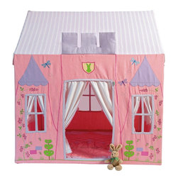 Wingreen - WinGreen Cotton Playhouse - Princess Castle, Large - Our enchanting Princess Castle, with its fairytale lilac turrets, is embroidered with pretty pink blossoms, delicate dragonflies and cheerful bumblebees. With the Win Green family crest above the door, it's a magical hideaway for your little princess!