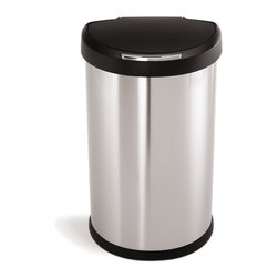 simplehuman - simplehuman Semi-Round Sensor Trash Can - simplehuman Semi-Round Sensor Trash Can, Fingerprint-Proof Brushed Stainless Steel with Plastic Lid, 45 Liters /12 Gallons