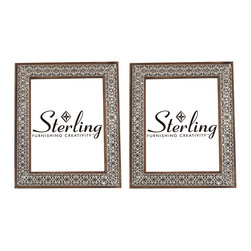 Sterling Lighting - Sterling Lighting Set of 2 Pierced Metal Picture Frames - Set of 2 metal picture frames/ the warm tones of the wooden frame can be seen through the open relief metal work.