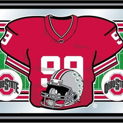 Trademark Global - Wood Framed Mirror w Ohio State Football Jers - It was famed OSU coach Woody Hayes who decided to put the Buckeye leaves on the backs of the players helmets to signify their leadership on the field, and the tradition still remains.  It's depicted here in brilliant full-color graphics on this fabulous mirrored wall plaque with black frame.  Officially licensed by the NCAA, it features the Ohio State University logo and number ninety-nine jersey.  This fabulous plaque makes an impressive tailgating party accessory. Great for gifts and recreation decor. Mirror with high quality, full color print. Black wrapped wood frames. 26 in. W x 15 in. H (10 lbs.)This College Football Officially Licensed Personalized Jersey Wall Mirror is the perfect gift for the Football Fan in your life.