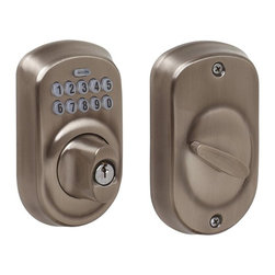 Schlage - Plymouth Antique Pewter Keypad Deadbolt - BE3 - Manufacturer SKU: BE365 PLY 620. Handle Type: Deadbolt. For exterior doors; pair with a hall & closet knob or lever when replacing a deadbolt and keyed knob on your door. Professional grade security with the biggest adjustable bolt available for increased resistance to kick-ins. Limited lifetime finish and mechanical warranty. Pre-set, unique, six-digit programming code, two pre-set unique four-digit user codes (19 code capacity). Coordinate with other Antique Pewter products. Wear-resistant, silicon-coated keypad so numbers don't wear off. Backlit, simple keypad layout is easy to see and use, even for little hands. 3 year battery life, 9V battery included. Designed for standard door prep (fits existing pre-drilled holes). 3 in. L x 4.5 in. W x 6.5 in. H (4.8 lbs)