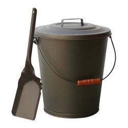 Uniflame - Uniflame C-1726B Bronze Finish Ash Bin w/ Lid And Shovel - Bronze Finish Ash Bin w/ Lid And Shovel belongs to Fireplace Accessories Collection by Uniflame