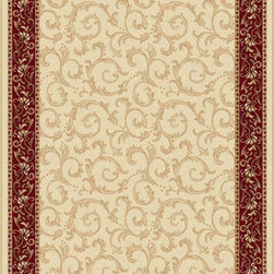 Tayse Rugs - Elegance Beige, Blue and Red Rectangular: 5 Ft. x 7 Ft. Rug - - Scrollwork interior with floral border makes this rug a perfect companion to traditional or transitional d�cor. In classic colors that are always in fashion. Ivory with red and gold. Made of soft polypropylene that is easy to clean. Vacuum and spot clean.  - Square Footage: 35  - Pattern: Oriental  - Pile Height: 0.39-Inch Tayse Rugs - 5402  Ivory  5x7