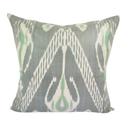 """Slow Tide 20"""" Ikat Pillow Cover - P-A514 - Ikat pillow cover constructed from hand woven Ikat fabric from Uzbekistan. Due to the handmade nature of our products, each product may vary slightly in size, and exact appearance. This uniqueness contributes to the charm of our handmade craftsmanship."""