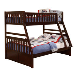 Homelegance - Homelegance Rowe Twin/ Full Bunk Bed in Dark Cherry - Twin/ Full with Trundle - Maximizing sleep space is achieved with the stylish Rowe collection. This transitional bunk bed is featured in a dark cherry finish making it an appropriate choice for a number of youth bedroom settings. With twin over full and twin over twin configurations, the design allows you to choose the size that is right for your family. Two under bed options are available - toy Boxes that provide additional storage space or twin trundle that offers additional sleep space.