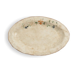 Arte Italica - Medici Small Oval Platter - Rustic reimagined. Serve up a little old-world charm with this beautiful, hand-painted platter. It's made by hand in Italy, so you'll notice slight variations in color and size. Each is decorated with a vine motif and fleur-de-lis in saturated hues of green, blue and orange.