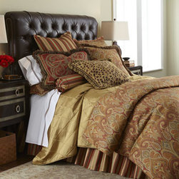 """Legacy Home - Legacy Home Queen Paisley Duvet Cover, 96"""" x 90"""" - Spice-toned paisley and striped patterns contrast and complement each other elegantly in a spirited bedding from Legacy Home. Piped duvet covers reverse from paisley to chocolate. Ruffled striped dust skirts have an 18"""" drop. Neckroll pillow has satin-s..."""