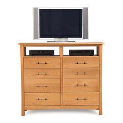 Copeland Furniture - Copeland Furniture Monterey 8 Drawer Dresser + TV Organizer 2-MNT-85-03 - The Monterey Bedroom gives traditional Arts & Crafts an Asian touch. The clean lines of the Monterey bed are perfectly complemented by a selection of case pieces. All pieces are crafted in solid cherry hardwood.