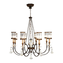 Fine Art Lamps - Eaton Place Chandelier, 585240ST - Inspired by early Victorian London style, this candelabra chandelier has an eclectic vintage character, with its rustic iron body, large bell-shaped crystal pendants and singular shades of faceted channel-set crystals. The clear, faceted shades refract the light into dazzling, celestial halos, creating a unique dark/light contrast with the earthy metal body.