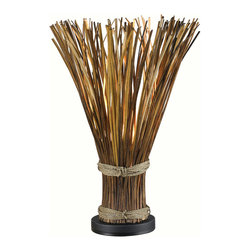 Kenroy - Kenroy 21066NR Sheaf Table Lamp - Truly unique, Sheaf initially appears to be a gathered bundle of reeds, but its fanned top conceals a hidden light that gently illuminates the warm finish.  The effect can be country or nautical, but always stands out.