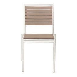 Euro Style - Nathan Stacking Chair (Set Of 4) - These chairs hit all the right buttons. Indoor/Outdoor. Stackable. The look of teak slatted seats and backs. There's a breezy, just-right feel with these chairs. Side or with arms.