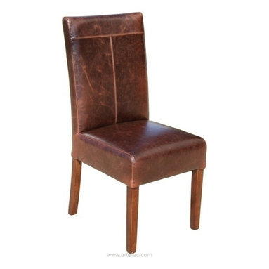 "ARTEFAC - 2 - Distress Brown T-Patch Leather Dining Chairs, Distress Brown, H-39"" X W-17"" - This T-Patch chair is a top seller for its stunning looks, Genuine Cow hide Bii-Cast leather, kiln dried solid hardwood frame, and high density foam with pirelli straps."