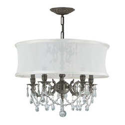 Crystorama Lighting - Crystorama Lighting 5535-PW-SMW-CLS Gramercy Traditional Chandelier in Pewter - Crystorama Lighting 5535-PW-SMW-CLS Gramercy Traditional Chandelier In Pewter With Swarovski Elements Crystal