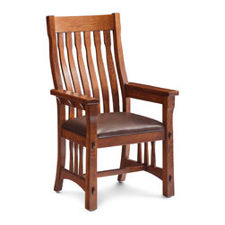 MaRyan Arm Chair - Custom made in your choice of 8 American hardwoods available in 18 different finishes. Price varies with wood selection. Shown with a leather seat but can also have a fabric or wood seat.