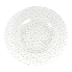 """Saro - Hobnail Glass Charger Plate, Clear - 12"""" SET/2 - Add texture to the table with our Hobnail Glass Charger plate."""