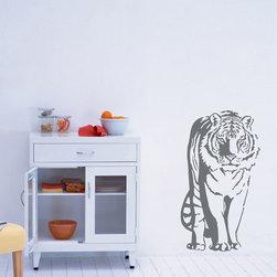 ColorfulHall Co., LTD - Wall Sticker Jungle Animals Wall Decals Sitting Tiger , Grey - Wall Sticker Jungle Animals Wall Decals Sitting Tiger