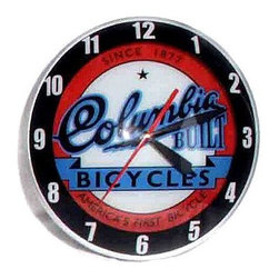 """Limited Edition Double Bubble Columbia Clock - Lights Up - Columbia Bicycles Have Been A Major Force In Trends And Bike Technology For Over 125 Years In America. This Is A Fun Clock For Your Rec Room Or Anywhere. Limited Edition. This Is An Accurate Reproduction Of The Original. Limited Edition. Domed Glass Over The Front Helps To Float The Hands Above The Classic Glassed-In Coca-Cola Logo. Double Bubble Clocks, Made From The 1940'S To The 1960'S Are Well Known For Being The Most Attractive Of All The Advertising Clocks. And Each Of Our Clocks Are Beautiful.   The Clocks Get Their Nickname, Double Bubble, Because There Is An Inner Crystal Or Glass Bubble Which Displays The Company Logo. The Hands Of The Clock Are Sandwiched Between An Outer Crystal Or Glass Bubble Which Usually Displays The Numbers Of The Clock. Limited Production On Many Clock Models Is The Rule, Rather Than The Exception. Look For The Clocks To Become As Collectible As The Originals Once We'Ve Sold Out.    * Overall Dimensions: 14.5"""" In Diameter * Limited Edition Stock * Clock Lights Up - Electrical * Made With Glass & Metal * No Assembly Required  * 90 Day Warranty * Shipped Insured * Brand New!"""