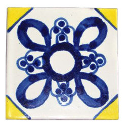 "Casa Daya - 12 Hand Painted Made to Order Talavera Tile Set - Set of twelve 4"" x 4"" tiles for your craft or construction project."