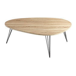 Cyan Design - Lunar Landing Coffee Table - Oak top coffee table with hairpin legs.