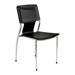 Eurostyle - Terry Side Chair (Set Of 4)-Blk/Chrm - Leatherette seat and back