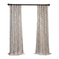 """Exclusive Fabrics & Furnishings - Ankara Silver Embroidered Faux Silk Curtain - SOLD PER PANEL . 51% Polyester 49% Nylon   Lined . 3"""" Pole Pocket with Hook Belt . Base Fabric- Silver   Pattern- Silver .Weighted Hem   Dry Clean Only ."""
