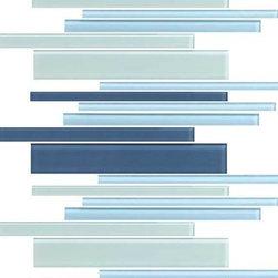 "Color Wave CW27 Winter Blue Interlocking Blends 12"" x 18"" Random Mosaic -"