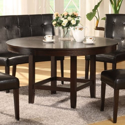 Modus - Bossa 54 in. Dining Round Table in Dark Choco - Chairs not included. Elegant & sophisticated look. Floating top & apron detail. Large apron gives the table a substantial feel. Simple assembly procedure to build table base & attach table top. Stylish design blends contemporary & transitional elements. 30 in. High dining table designed for 20 in. high seats. Made of Birch solid wood & Eastern Ash wood veneer. Assembly required. Top: 54 in. Dia x 3.5 in. H (103 lbs.). Base: 24 in. L x 24 in. W x 29 in. H (26 lbs.)In Brazil, to do something with Bossa is to do it with particular charm and natural flair. Available in counter and dining height with 48 and 54 inch tops, Bossa tables pair straight lined architectural bases with round floating tops, built out edge bands and book matched veneer surfaces. Parsons chairs, banquettes and kitchen counter stools are available in several fresh colors and blend transitional button tufting with a contemporary profile, upholstery application and wood finish. The result is an urban contemporary casual dining set designed with ample Bossa.Bossa chairs, banquettes and stools feature no-sag web seat cushions for extra comfort and 10 bolt grooved corner block construction for easy assembly and long term durability. Bossa tables are built with solid birch legs and Ash wood veneer tops finished in a versatile multi-step Chocolate Brown finish that showcases wood surfaces while protecting them from spills and scratches.