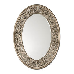 Uttermost - Uttermost Francesco Small Oval Mirror X-45341 - This decorative oval mirror features an antiqued champagne finish with burnished details and a heavy gray glaze.